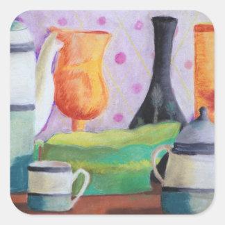 Bottlescape II - Fiesta del té abstracta de Alicia Pegatina Cuadrada