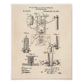 Bottling machine 1890 Patent Art - Old Peper Poster