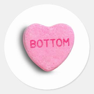 Bottom Candy Heart Round Stickers