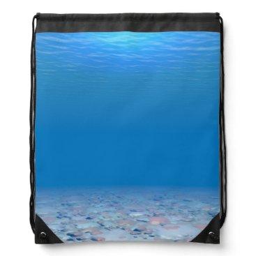 Ocean Themed Bottom of The Sea Drawstring Backpack