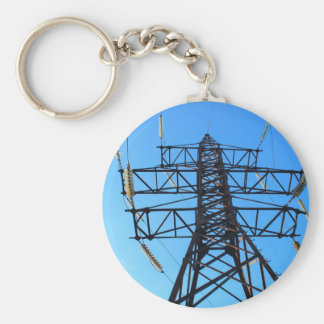 Bottom view of the high-voltage metal tower basic round button keychain