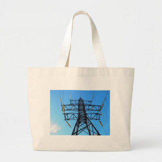 Bottom view of the high-voltage metal tower large tote bag