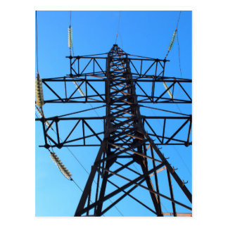 Bottom view of the high-voltage metal tower postcard
