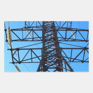 Bottom view of the high-voltage metal tower rectangular sticker