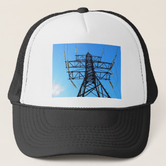 Bottom view of the high-voltage metal tower trucker hat