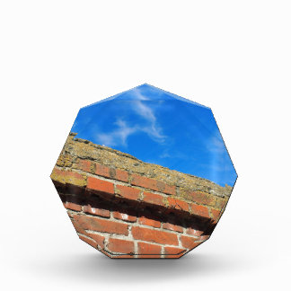 Bottom view on a fragment of red brick fence acrylic award