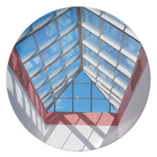 Bottom view on the triangular glass roof dinner plate