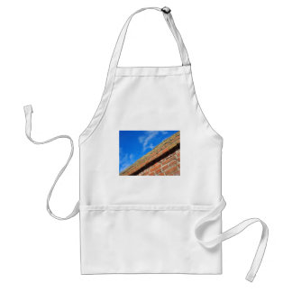 Bottom view on top of the stone wall of bricks aga adult apron