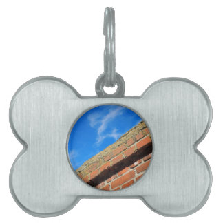 Bottom view on top of the stone wall of bricks aga pet ID tag