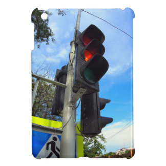 Bottom view on traffic light and road sign closeup iPad mini cover