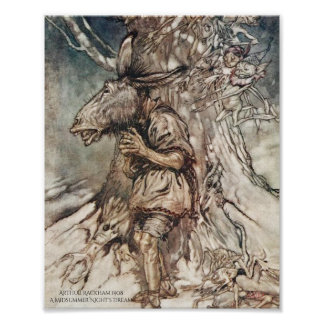 Bottom's Midsummer Night's Dream Arthur Rackham Poster
