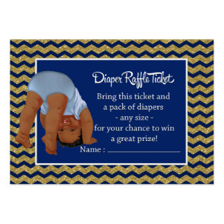 Bottoms Up Ethnic Boy Diaper Raffle Ticket Large Business Card