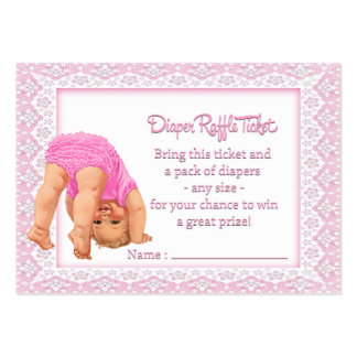 Bottoms Up Girl Diaper Raffle Ticket Large Business Card