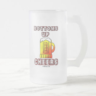 Bottoms Up,Oil Field Saying,Oil,Beer,Stein,Mug Frosted Glass Beer Mug