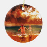 Bottoms Up Double-Sided Ceramic Round Christmas Ornament