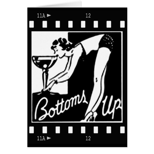 Bottoms Up Retro Lady Drinking Huge Martini Card