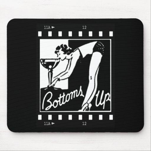 Bottoms Up Retro Lady Drinking Huge Martini Mousepad
