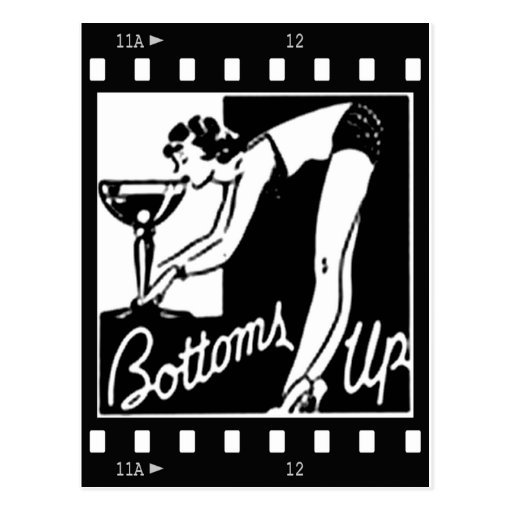 Bottoms Up Retro Lady Drinking Huge Martini Post Card