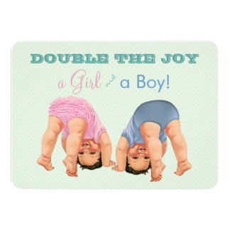 Bottoms Up Twin Baby Shower Card