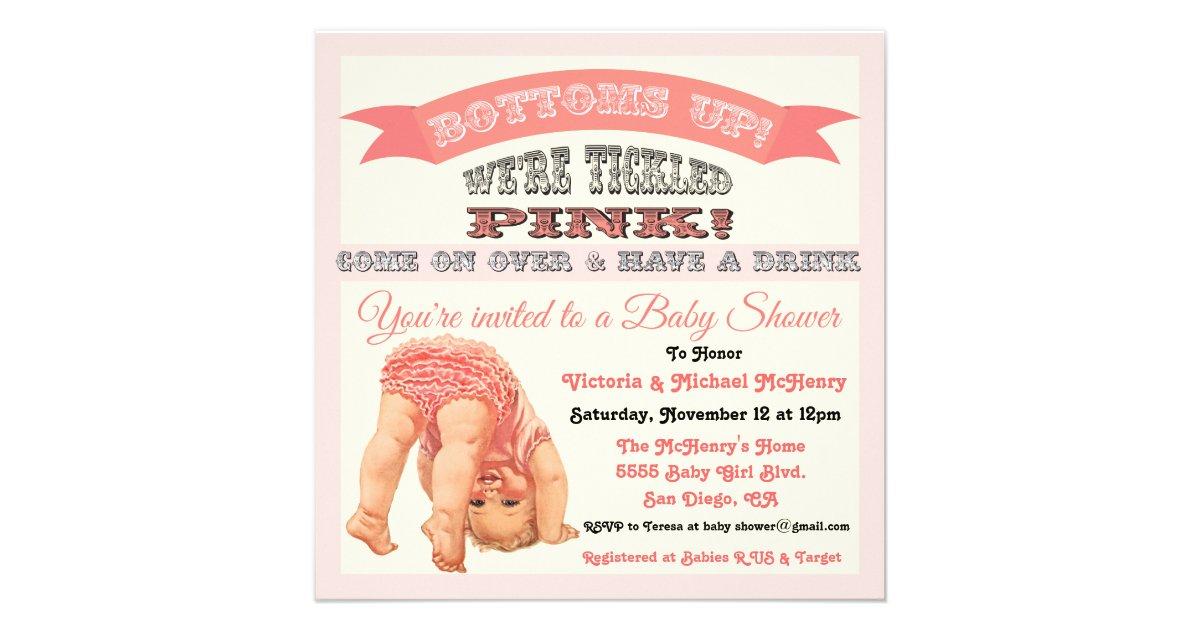 Bottom\'s Up Vintage Baby Girl Shower Invitations