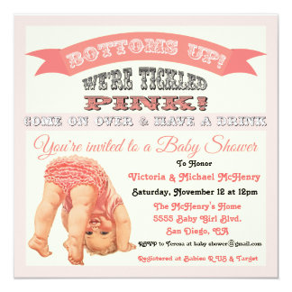 Bottom's Up Vintage Baby Girl Shower Invitations