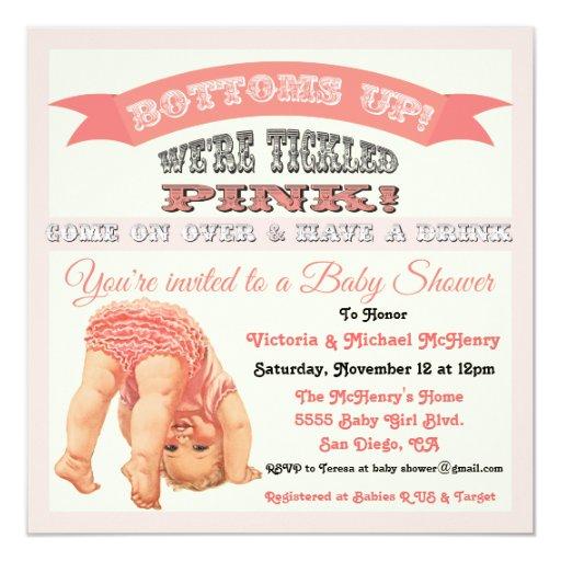 Vintage Baby Shower Invitations ~ Bottom s up vintage baby girl shower invitations zazzle