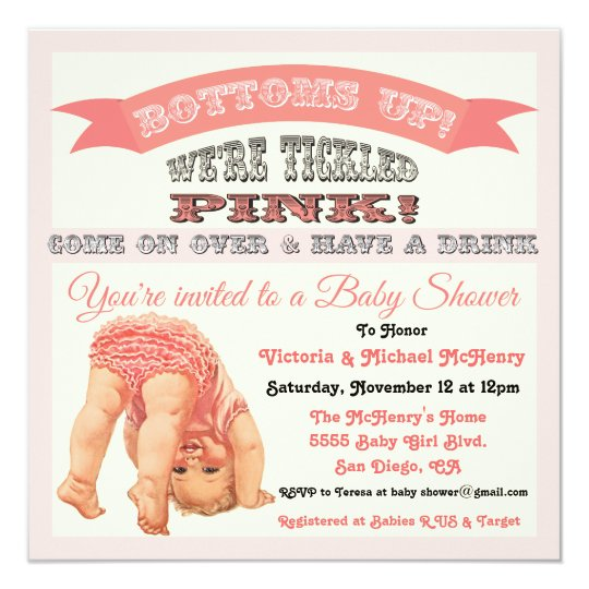 Bottom S Up Vintage Baby Shower Invitations