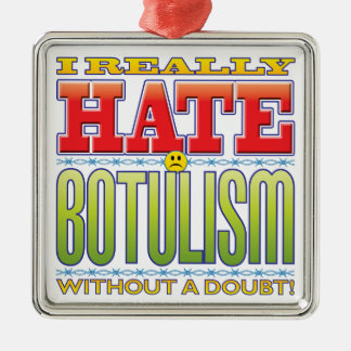 Botulism Hate Face Square Metal Christmas Ornament