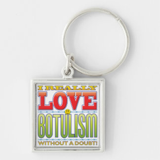 Botulism Love Face Silver-Colored Square Keychain