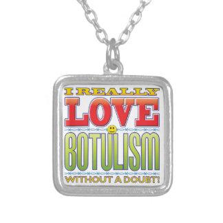 Botulism Love Face Square Pendant Necklace