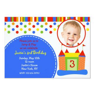 """Bouce House Photo Birthday Party Invitations 5"""" X 7"""" Invitation Card"""