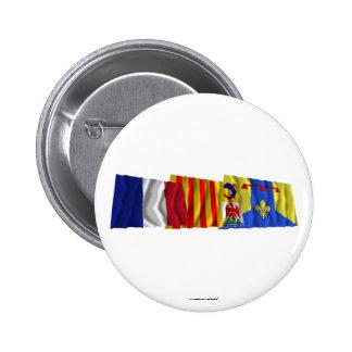 Bouches-du-Rhône, PACA and France flags Pinback Button