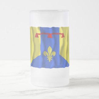 Bouches-du-Rhône waving flag Frosted Glass Beer Mug