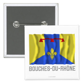 Bouches-du-Rhône waving flag with name Button