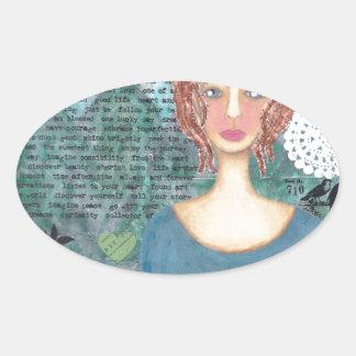 Boudicca of the Iceni 001.jpg Oval Sticker