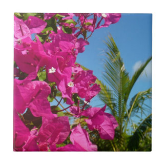 Bougainvillea and Palm Tree Tile