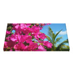 Bougainvillea and Palm Tree Tropical Nature Scene Canvas Print