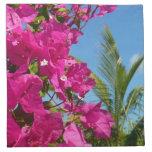 Bougainvillea and Palm Tree Tropical Nature Scene Cloth Napkin