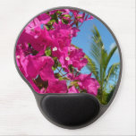 Bougainvillea and Palm Tree Tropical Nature Scene Gel Mouse Pad