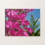 Bougainvillea and Palm Tree Tropical Nature Scene Jigsaw Puzzle