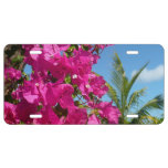Bougainvillea and Palm Tree Tropical Nature Scene License Plate