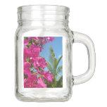 Bougainvillea and Palm Tree Tropical Nature Scene Mason Jar