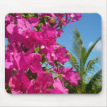 Bougainvillea and Palm Tree Tropical Nature Scene Mouse Pad