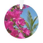 Bougainvillea and Palm Tree Tropical Nature Scene Ornament