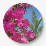 Bougainvillea and Palm Tree Tropical Nature Scene Paper Plate
