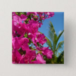 Bougainvillea and Palm Tree Tropical Nature Scene Pinback Button