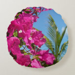 Bougainvillea and Palm Tree Tropical Nature Scene Round Pillow