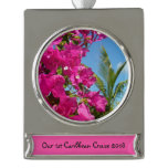 Bougainvillea and Palm Tree Tropical Nature Scene Silver Plated Banner Ornament
