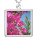 Bougainvillea and Palm Tree Tropical Nature Scene Silver Plated Necklace