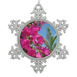 Bougainvillea and Palm Tree Tropical Nature Scene Snowflake Pewter Christmas Ornament